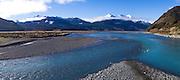 Panoramic view of the Waimakariri River  with the Puketeraki Range in the background, New Zealand