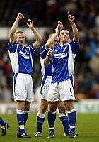 Fotball. Engelsk Premier Leauge 2001/2002.<br /> Everton v Derby 23.03.2002.<br /> Peter Clarke (tv) og David Unsworth, Everton.<br /> Foto: David Rawcliffe, Digitalsport