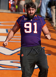November 21, 2009; Clemson, SC, USA;  Clemson Tigers defensive lineman Jess Bowers (91) on the hill before the game against the Virginia Cavaliers at Memorial Stadium.  Clemson defeated Virginia 34-21.