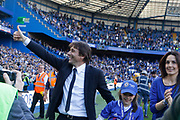 Chelsea Manager Antonio Conte gives the fans a thumbs up during the Premier League match between Chelsea and Sunderland at Stamford Bridge, London, England on 21 May 2017. Photo by Andy Walter.