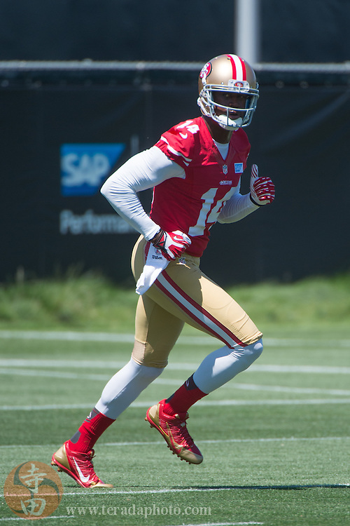 July 24, 2014; Santa Clara, CA, USA; San Francisco 49ers wide receiver Kassim Osgood (14) during training camp at the SAP Performance Facility.