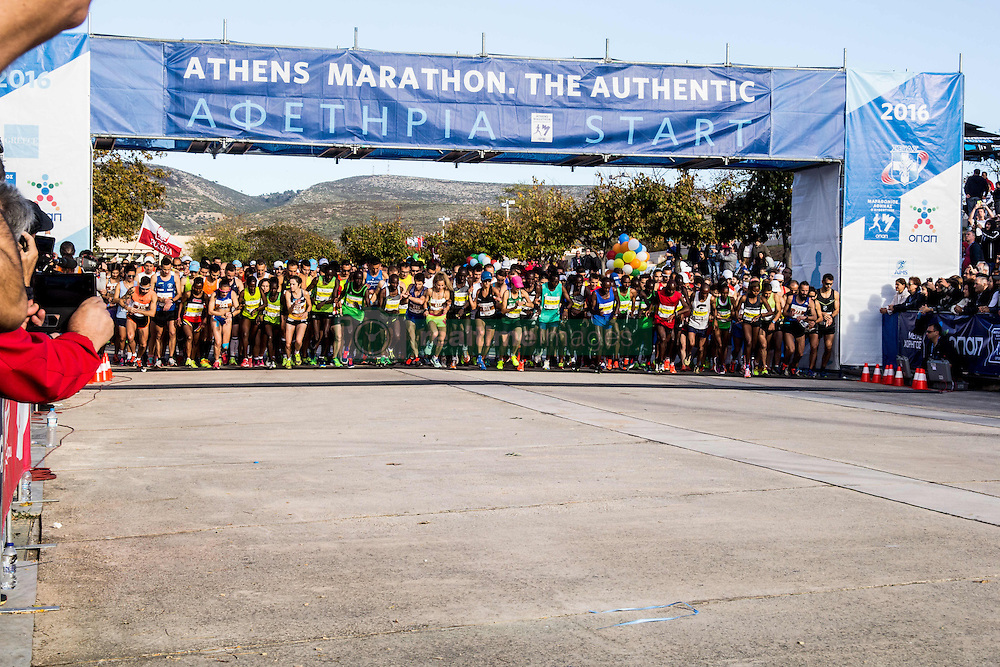 November 13, 2016 - Athens, Greece - The race starts. The 34st Athens Authentic Marathon marks the 120th anniversary of the first contemporary Marathon race in 1896. The event is inspired by the ancient hemerodromos that run from Marathonas to Athens to bring the victorious news of the battle against Persians in 480 BC. The race of 1896 was won by the Greek Spiros Louis. The event is dedicated to Grigoris Lambrakis, a doctor, Balkan Athletic Games champion and pacifist. At the Marathon race more than 18000 athletes competed, making a new record of participants. (Credit Image: © Kostas Pikoulas/Pacific Press via ZUMA Wire)