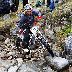 Manel Jane  tries hard to negotiate the heavy boulders on the lagnaha section near duror in argyll.  The six day trial pits man and machine against the heavy highland terrain with the winner having he best times on each of the stages at the end of the six days. picture kevin mcglynn | STOCKPIX