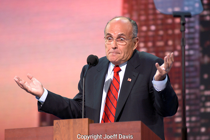 Former New York City Mayor Rudy Giuliani addresses the Republican National Convention, August 30, 2004, at Madison Square Garden in New York City.