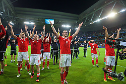 LILLE, FRANCE - Friday, July 1, 2016: Wales' Gareth Bale leads his squad in celebration after a 3-1 victory over Belgium and reaching the Semi-Final during the UEFA Euro 2016 Championship Quarter-Final match at the Stade Pierre Mauroy. Hal Robson-Kanu, David Cotterill, Jonathan Williams. (Pic by David Rawcliffe/Propaganda)