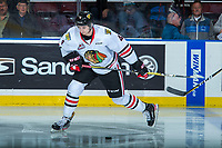 KELOWNA, CANADA - OCTOBER 20: Conor MacEachern #4 of the Portland Winterhawks warms up with a shot against the Kelowna Rockets on October 20, 2017 at Prospera Place in Kelowna, British Columbia, Canada.  (Photo by Marissa Baecker/Shoot the Breeze)  *** Local Caption ***