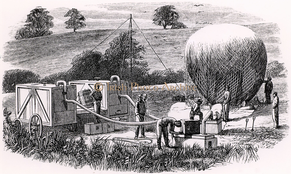 American military balloon unit inflating a reconnaissance balloon with hydrogen (1862).  The balloons used were of varnished silk and, in spite of a small amount of leakage, they still retained sufficient gas to make ascents some days after their initial inflation. Engraving from 'Astra Castra' by Hatton Turnor (London, 1865).