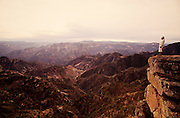 Copper Canyon. Tarahumara Indian Chief Julio watching sunrise.