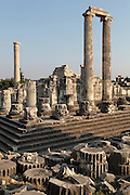 Temple of Apollo, 4th century BC, Didyma, Aydin, Turkey. This enormous temple complex dates from the Archaic period, but after it was destroyed by Darius I of Persia in 494 BC, it was rebuilt in the Hellenistic style in 313 BC once Alexander the Great had conquered Miletus. It originally had 122 enormous 60-foot tall Ionic columns dating to the 2nd century BC, although only 3 remain, 2 of which support the roof of the cella or inner chamber of the temple. Didyma was an ancient Greek sanctuary on the coast of Ionia near Miletus, consisting of a temple complex and the oracle of Apollo, or Didymaion, who was visited by pilgrims from across the Greek world. The earliest temple ruins found here date to the 8th century BC but Didyma's heyday lasted throughout the Hellenistic age. It was approached along a 17km Sacred Way from Miletus and is the largest sanctuary in Western Turkey. Picture by Manuel Cohen