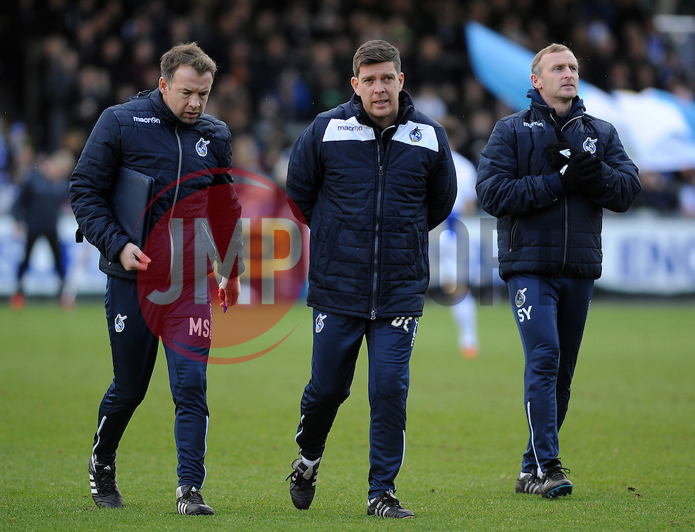 Bristol Rovers assistant manager Marcus Stewart, Bristol Rovers manager Darrell Clarke, Bristol Rovers coach Steve Yates - Mandatory by-line: Neil Brookman/JMP - 28/01/2017 - FOOTBALL - Memorial Stadium - Bristol, England - Bristol Rovers v Swindon Town - Sky Bet League One