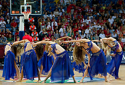 Cheerleaders perform during the quarter-final basketball match between National teams of Turkey and Slovenia at 2010 FIBA World Championships on September 8, 2010 at the Sinan Erdem Dome in Istanbul, Turkey.  (Photo By Vid Ponikvar / Sportida.com)