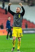 Liam Boyce of Burton Albion celebrates towards the travelling fans after his goal seals the victory after EFL Sky Bet League 1 match between Sunderland and Burton Albion at the Stadium Of Light, Sunderland, England on 26 November 2019.