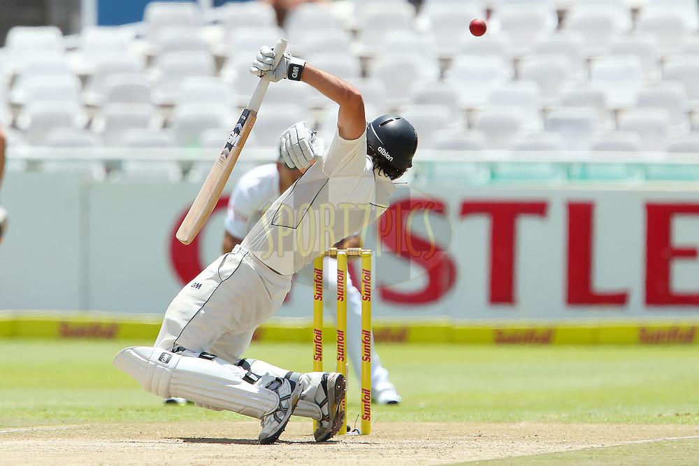Dean Brownlie avoids a delivery from Dale Steyn during the 3rd day of the 1st Sunfoil Test match between South Africa and New Zealand held at Newlands Stadium in Cape Town, South Africa on the 4th January 2013..Photo by Ron Gaunt/SPORTZPICS .