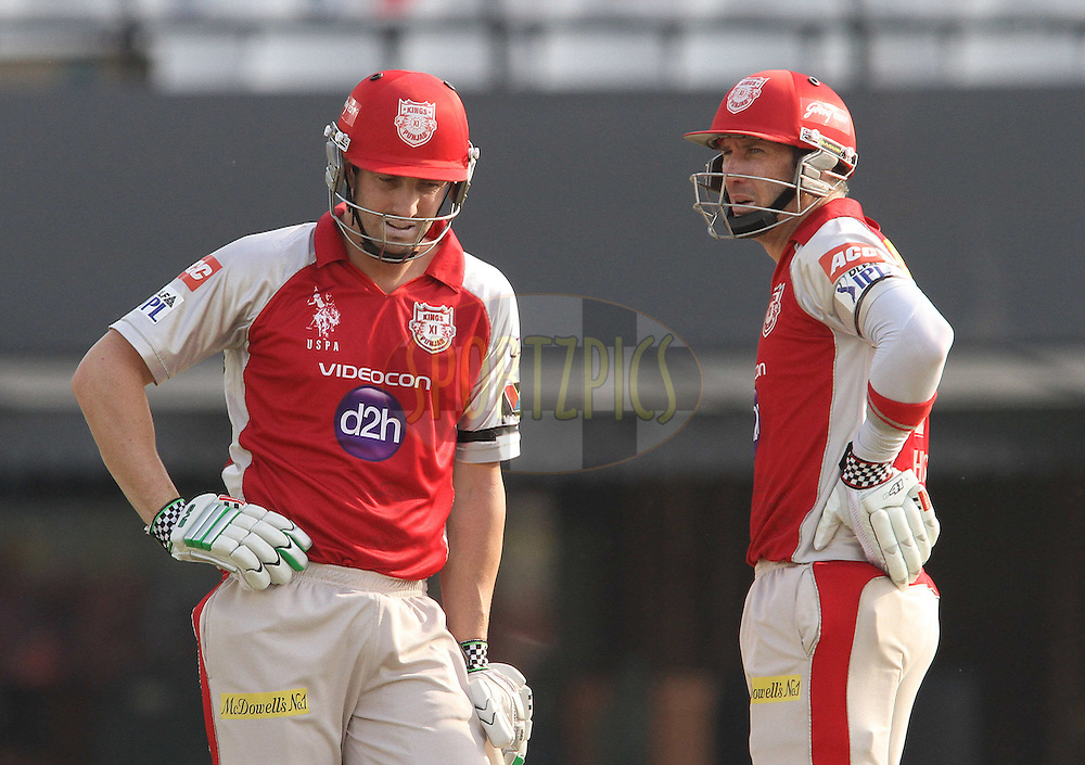 Shaun Marsh of the Kings XI Punjab and Kins XI Punjab captain David Hussey between overs during match 33 of the the Indian Premier League (IPL) 2012  between The Kings X1 Punjab and The Mumbai Indians held at the Punjab Cricket Association Stadium, Mohali on the 25th April 2012..Photo by Shaun Roy/IPL/SPORTZPICS