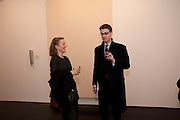 LIZ CALZIA; MARTIN WILLIAM, 'Engagement' exhibition of work by Jennifer Rubell. Stephen Friedman Gallery. London. 7 February 2011. -DO NOT ARCHIVE-© Copyright Photograph by Dafydd Jones. 248 Clapham Rd. London SW9 0PZ. Tel 0207 820 0771. www.dafjones.com.