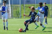 08.04.17; Zuerich; Fussball FCZ Academy - Grasshopper Club - Zuerich FE14 Oberland; <br /> Buerge Luca (Zuerich) Khalo Gamel (GC) <br /> (Andy Mueller/freshfocus)