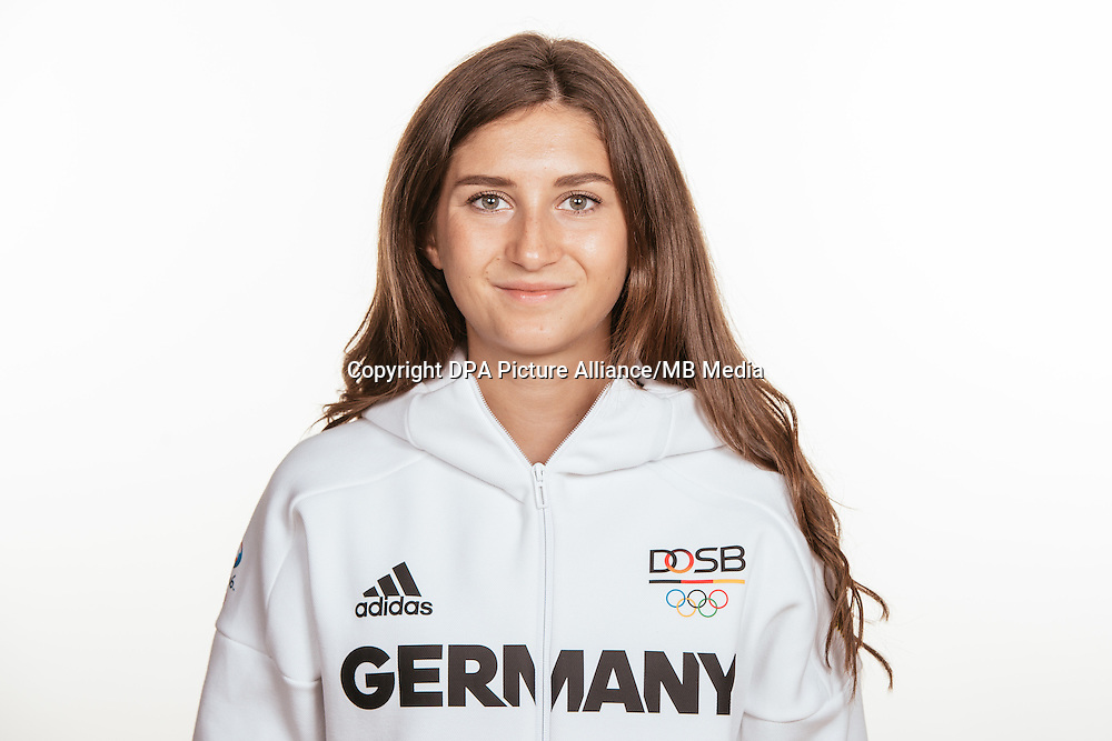 Gesa Felicitas Krause poses at a photocall during the preparations for the Olympic Games in Rio at the Emmich Cambrai Barracks in Hanover, Germany, taken on 12/07/16 | usage worldwide