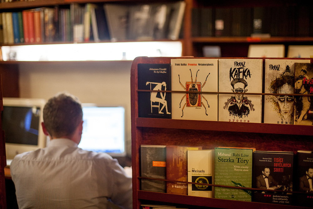 Franz Kafka books at the bookstore and cafe bar Rehor Samsa located in the Lucerna passage.