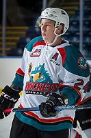 KELOWNA, CANADA - SEPTEMBER 2: Center Kyle Topping #24 of the Kelowna Rockets skates against the Victoria Royals on September 2, 2017 at Prospera Place in Kelowna, British Columbia, Canada.  (Photo by Marissa Baecker/Shoot the Breeze)  *** Local Caption ***