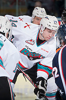 KELOWNA, CANADA - JANUARY 9: Rourke Chartier #14 of Kelowna Rockets faces off against the Tri City Americans on January 9, 2016 at Prospera Place in Kelowna, British Columbia, Canada.  (Photo by Marissa Baecker/Shoot the Breeze)  *** Local Caption *** Rourke Chartier;