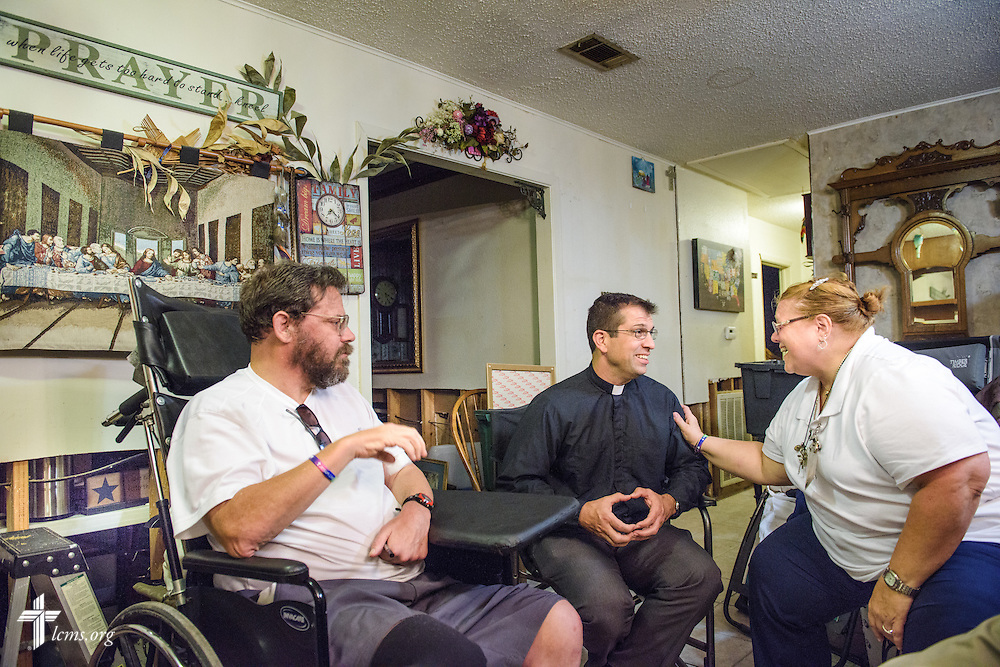 The Rev. Ross Johnson, director of LCMS Disaster Response, shares a devotion and visits with Paulette and Joseph Parker, parishioners of Trinity Lutheran Church, Baton Rouge, La., on Tuesday evening, Sept. 13, 2016, in Baton Rouge. The two church members suffered damage to their home from August flooding. Also present, and not pictured, are the Rev. David Buss, senior pastor at Trinity, and the Rev. Ruben Dominguez, pastor at El Buen Lutheran Church, McAllen, Texas.  LCMS Communications/Erik M. Lunsford