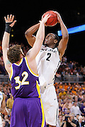 ST. LOUIS, MO - MARCH 26: Raymar Morgan #2 of the Michigan State Spartans goes up for a shot against Lucas O'Rear #32 of the Northern Iowa Panthers during the Midwest regional semi-final of the NCAA men's basketball tournament at the Edward Jones Dome on March 26, 2010 in St. Louis, Missouri. Michigan State advanced with a 59-52 win. (Photo by Joe Robbins)