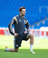 09.10.2014, City Stadium, Cardiff, ENG, FS Vorbereitung, Trainingslager, Nationalteam Wales, in Vorbereitung auf das kommende UEFA Euro 2016 Qualifikationsmatch gegen Bosnien Herzegovina am 10. Oktober in Cardiff, im Bild Wales' Gwion Edwards // during a training session of the national footballteam of Wales in preparation for the upcoming EURO 2016 qualifying match against Bosnia and Herzegovina on 10. October 2014 in Cardiff, at the City Stadium in Cardiff, Great Britain on 2014/10/09. EXPA Pictures © 2014, PhotoCredit: EXPA/ Propagandaphoto/ David Rawcliffe<br /> <br /> *****ATTENTION - OUT of ENG, GBR*****