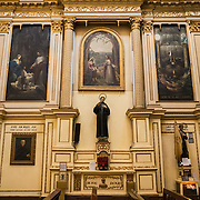 Side of the nave at the the Iglesia de Santa Ines (Church of Saint Agnes) in the historic Centro Historico district of downtown Mexico City, Mexico.