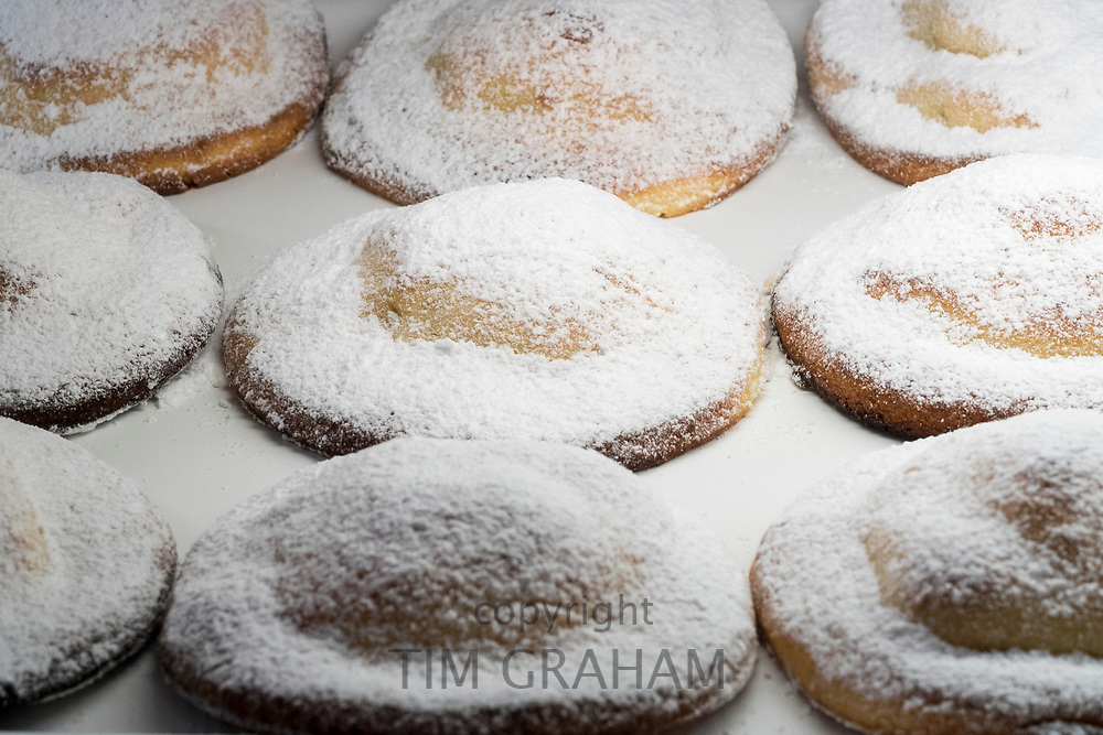 Local speciality food Pasticceria Le Genovesi di Erice - traditional Genovese pastry on sale in Erice, Sicily, Italy