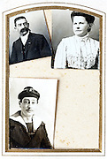 1900s page from an photo album with passphoto style portraits