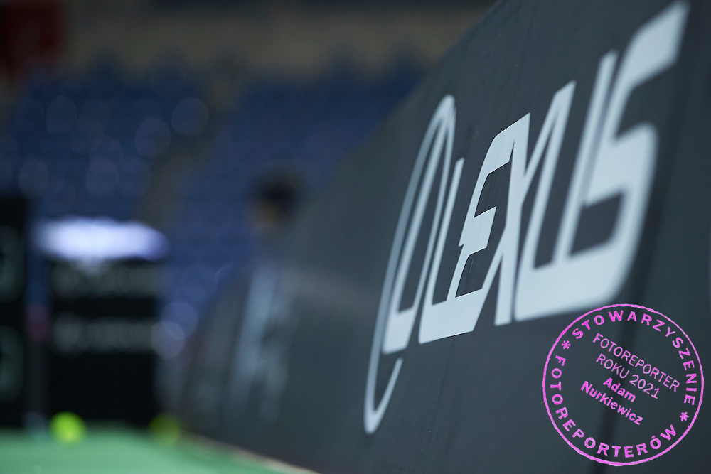 Lexus advertise during official training session two days before the Fed Cup / World Group 1st round tennis match between Poland and Russia at Krakow Arena on February 5, 2015 in Cracow, Poland.<br /> <br /> Poland, Cracow, February 5, 2015<br /> <br /> Picture also available in RAW (NEF) or TIFF format on special request.<br /> <br /> For editorial use only. Any commercial or promotional use requires permission.<br /> <br /> Adam Nurkiewicz declares that he has no rights to the image of people at the photographs of his authorship.<br /> <br /> Mandatory credit:<br /> Photo by &copy; Adam Nurkiewicz / Mediasport