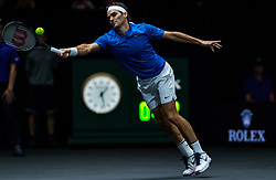 September 23, 2017 - Prague, Czech Republic - Team Europe player Roger Federer of Switzerland returns the ball to Team World player Sam Querrey of United States during the second day at Laver Cup on Sept 23, 2017 in Prague, Czech Republic.  The Laver Cup consists of six European players competing against their counterparts from the rest of the World. Europe will be captained by Bjorn Borg and John McEnroe will captain the Rest of the World team. The first Laver Cup held in Europe, at the O2 arena Prague from September 22-24, 2017. (Credit Image: © Robert Szaniszlo/NurPhoto via ZUMA Press)