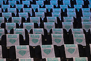 New York Rising towels sit on the seats before tipoff between the New York Liberty and the Phoenix Mercury during the second round of the W.N.B.A. playoffs at Madison Square Garden in New York on September 24, 2016. (Cooper Neill for The New York Times)