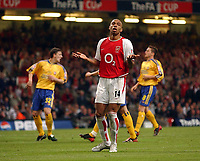 Photo: Richard Lane<br /> The FA Cup Final 2003<br /> Arsenal v Southampton. Millenium Stadium Cardiff. 17/05/2003<br /> Thierry Henry shrugs his shoulders