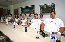 Athletes (from R) Miro Vodovnik, Primoz Kozmus, Sabina Veit, Marija Sestak at press conference of Slovenian National Team before Athletics World Championships in Berlin,  on August 10, 2009, in Ljubljana, Slovenia. (Photo by Vid Ponikvar / Sportida)