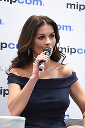 """Press conference A+E Networks : Catherine Zeta-Jones actrice dans la serie TV """"Cocaine Godmother"""", Patrick Vien is Executive Managing Director, International at A+E Networks et Tanya Lopez as Senior Vice President durant le MIPCOM 2017 a Cannes. <br />Photocall with Catherine Zeta-Jones for the TV show """"Cocaine Godmother"""" during the MIPCOM in Cannes.  (Photo by Lionel Urman/Sipa USA)"""