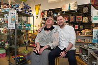 Business partners Melissa McCarthy and Jayson Twombly share the same vibrance as presented in their unique gift store The Studio in downtown Laconia.  (Karen Bobotas/for the Laconia Daily Sun)