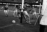 19/08/1962<br /> 08/19/1962<br /> 19 August 1962<br /> All Ireland Football Semi Final: Cavan v Roscommon at Croke Park, Dublin. Cavan forward J. Brady ends up in the net after this melee in the closing minutes of the game.