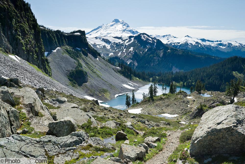 Iceberg Lake and Mount Baker (10,781 feet), Mount Baker Wilderness, North Cascades mountains, Washington