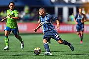 Sebastian Lletget (17) of LA Galaxy moves the ball down the field against the Seattle Sounders during the MLS soccer match on Saturday, September 1, 2019, in Seattle, Washington. (Alika Jenner/Image of Sport via AP)