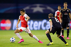 Alexis Sanchez #17 of Arsenal F.C. and Domogoj Antolic #8 of GNK Dinamo Zagreb during football match between GNK Dinamo Zagreb, CRO and Arsenal FC, ENG in Group F of Group Stage of UEFA Champions League 2015/16, on September 16, 2015 in Stadium Maksimir, Zagreb, Croatia. Photo by Urban Urbanc / Sportida