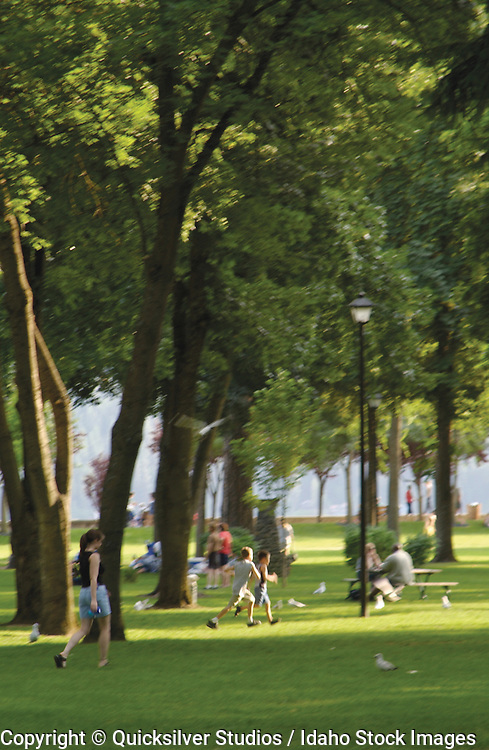 People enjoying the park on a summer day in Coeur d' Alene, Idaho