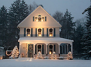 Middletown, NY - A home decorated with holiday lights and wreaths during a winter storm on Dec. 19, 2008.
