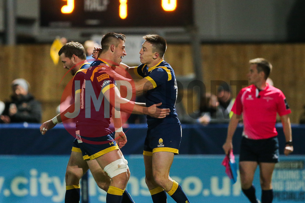 Josh Adams of Worcester Warriors celebrates scoring a try - Rogan Thomson/JMP - 04/11/2016 - RUGBY UNION - Sixways Stadium - Worcester, England - Worcester Warriors v Bristol Rugby - The Anglo Welsh Cup.
