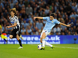 Manchester City's Samir Nasri scores  - Photo mandatory by-line: Joe Meredith/JMP - Tel: Mobile: 07966 386802 19/08/2013 - SPORT - FOOTBALL - Etihad Stadium - Manchester - Manchester City V Newcastle United - Barclays Premier League