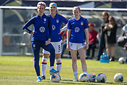 USA forward Megan Rapinoe (15), midfielder Julie Ertz (8), and midfielder Rose Lavelle (16) warm up before an international friendly against South Korea in Chicago, Sunday, Oct. 6, 2019, in Chicago. USWNT tied the Korea Republic 1-1. (Max Siker/Image of Sport)