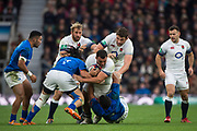 Twickenham, Surrey. UK.  Ellis GENGE, with the ball, drives on throught the tackle, during the England vs Samoa, Autumn International. Old Mutual Wealth Series. RFU Stadium, Twickenham. Surrey, England.<br />