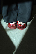 Pic by Howard Barlow.RED SHOES of Gwyneth Glyn, Wales's Children's Poet Laureate -.working with children at Ysgol Llangelynnin primary near Conwy, North Wales