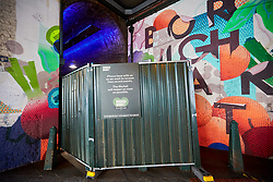 © Licensed to London News Pictures. 11/06/2017. LONDON, UK.  General view of an blocked entrance to Borough Market. The market remain has remained closed since a terror attack a week ago killed eight people but is expected to begin reopening tomorrow (Monday).  Photo credit: Cliff Hide/LNP