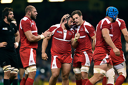 Karlen Asieshvili of Georgia is congratulated on a strong scrum - Mandatory byline: Patrick Khachfe/JMP - 07966 386802 - 02/10/2015 - RUGBY UNION - Millennium Stadium - Cardiff, Wales - New Zealand v Georgia - Rugby World Cup 2015 Pool C.